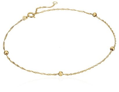 14k-Yellow-Gold-Chain-and-Bead-Anklet-9-1-Extender