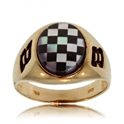 Racing Mother of Pearl and Onyx Yellow Gold Mens Ring