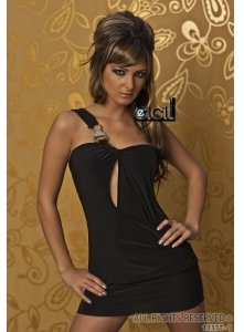 5301 - IMPRESS: ONE SHOULDER Long Top / Minikleid, Schwarz