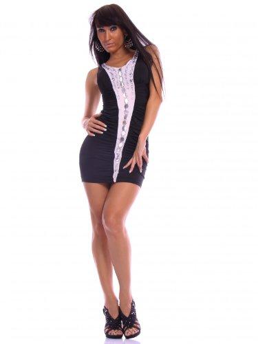 Sexy Damen Sommer Kleider Cocktail Minikleid Partykleid Ausschnitt Push-Up Steinchen Schwarz Kobaltblau Braun Weiß