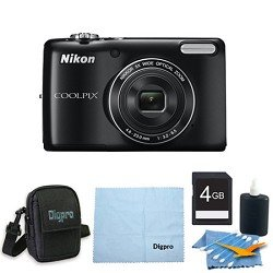 Nikon COOLPIX L26 16.1 MP 3.0-inch LCD Digital Camera 4GB Black Bundle
