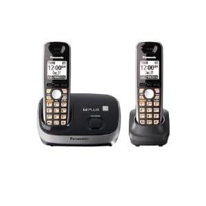Panasonic KX-TG6512B DECT 6.0 PLUS Expandable Digital Cordless Phone System, Black, 2 Handsets