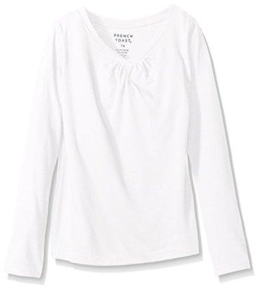 French-Toast-Girls-Big-Girls-Long-Sleeve-V-Neck-T-Shirt-White-78