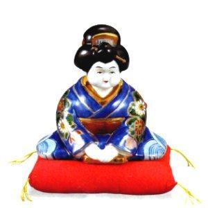 九谷焼 5.5号お辞儀お福・青久谷(布団付) K-1-1761