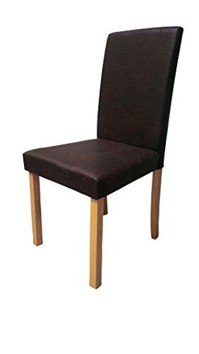 SAM® Polster-Stuhl Billi, Esszimmer-Stuhl in dunkelbrauner Antik-Optik, massive Holzbeine in Buche, Design-Stuhl für Küche und Esszimmer