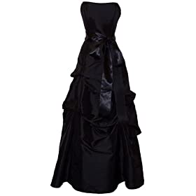 Strapless Taffeta Bridesmaid Prom Long Dress