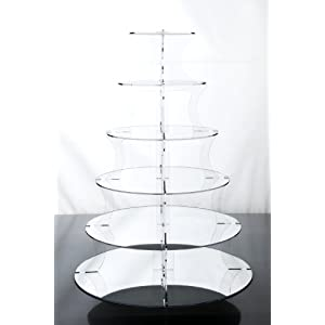 6 Tier Mirrored Acrylic Cup Cake Stand for Weddings and Parties