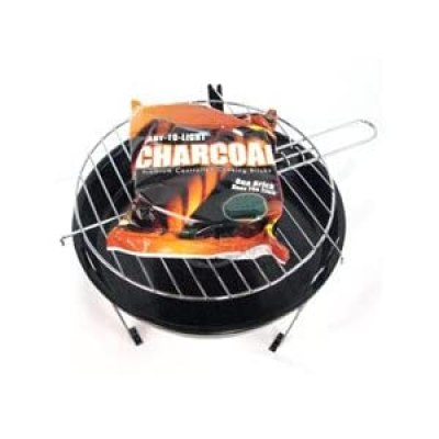 Portable Hibachi BBQ Grill w/ Charcoal Brick