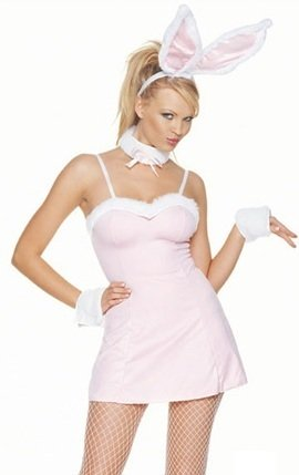 Pink Bunny Girl Dress Cute Sexy Adult Halloween Costume Skimpy Naughty Womens Plus Size Outfit