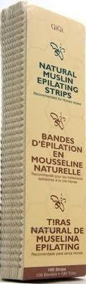 "GiGi Natural Muslin Epilating Strips Large (3"" x 9"") 100 Pack"
