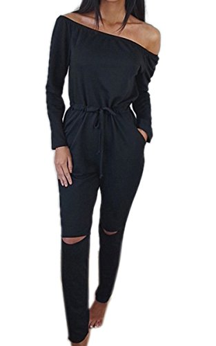 Ecowish Langarm Hosenanzug Jumpsuit Damen Elegant Lang Hosen Trägerlos Overall