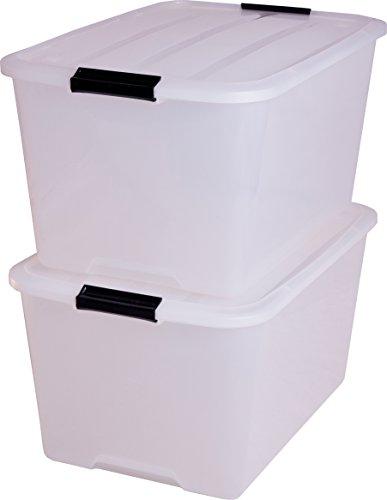 Iris Aufbewahrungsbox set von Ordnungssystem, Stapelbare mit Handel, Kunststoffbox mit deckel, transparent