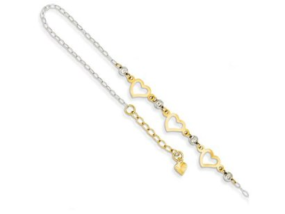 9-Inch-14k-Two-tone-Oval-Link-W-bright-cut-Beads-and-Heart-W1in-Ext-Anklet