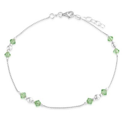 Bling-Jewelry-925-Sterling-Silver-Green-Crystal-Anklet