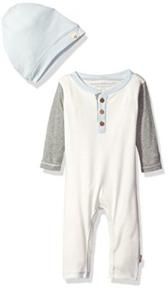 Burts-Bees-Baby-Boys-Organic-Henley-Coverall-Slouchy-Hat-Vanilla-Cream-18-Months