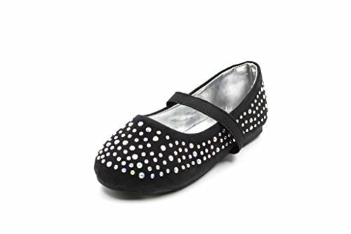 Simply Petals Girl's Suede Ballet Flat Covered with Rhinestones (Toddler/Little Kid/Big Kid) in Black-T Size: 10 Toddler M