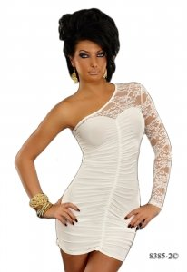 8385 - Young Blood: PARTY RAFF ONE SHOULDER Minikleid, SPITZE, W