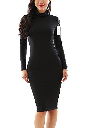 YMING Frauen sexy Stretch Langarm-Partei-Necked figurbetontes Kleid