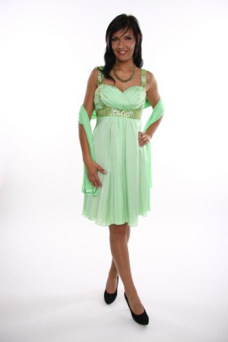 Modell 2062 Abendkleid knielang, Träger, grün Größe 34