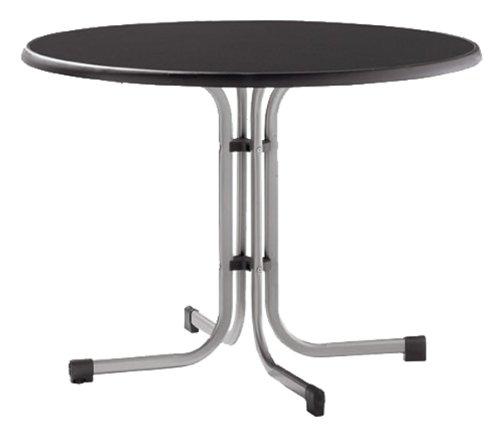 Sieger 236/A Boulevard-Klapptisch, ø 100 cm, Stahlrohrgestell graphit, Mecalit-Pro-Tischplatte Schieferdekor anthrazit, Tischhöhe ca. 72 cm