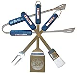 NEW New York Mets Grill BBQ Utensil Set Includes Tongs Brush Fork And A Laser Etched Spatula