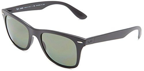 Ray-Ban Men's Wayfarer Liteforce Polarized Square Sunglasses, Matte Black & Polarized Green, 52 mm