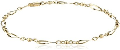 14k-Yellow-Gold-Bead-and-Twist-Link-Anklet-95
