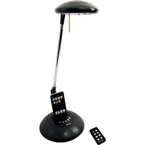 iHome iHL31-Black 35-Watt Halogen Desk Lamp with iPod/mp3 Docking Station and Surround-Sound Speakers, Black