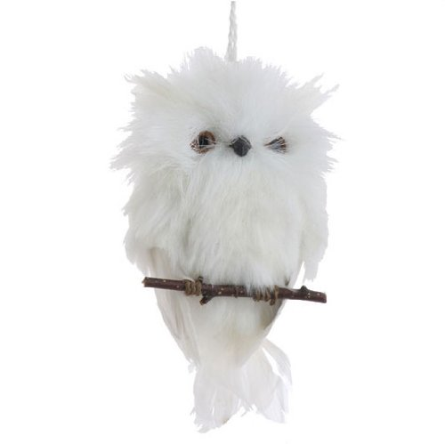 Flat White Feather Owl Christmas Ornament