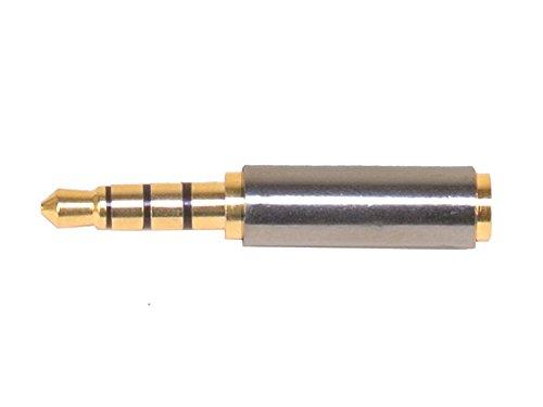 ステレオミニプラグ変換アダプタ 金メッキ端子 ステレオミニ φ3.5mm 凸オス 4極 ステレオ超ミニφ2.5mm 凹メス 3極 オーディオ 変換 接続 プラグ