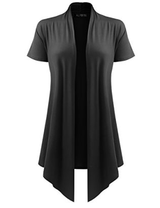 ALL-FOR-YOU-Womens-Soft-Drape-Cardigan-Short-Sleeve-Black-Large
