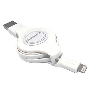 オウルテック 巻取り式 ライトニングケーブル Apple認証 ホワイト 1m