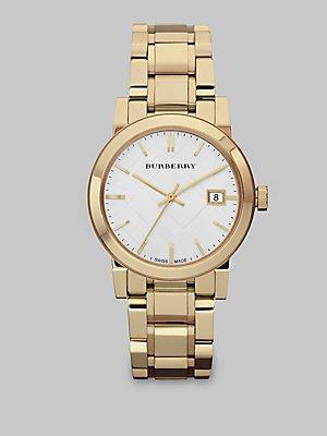 s swiss gold-tone stainless steel bracelet 34mm bu9103,burberry watch,video review,women,(VIDEO Review) Burberry Watch, Women's Swiss Gold-Tone Stainless Steel Bracelet 34mm BU9103,