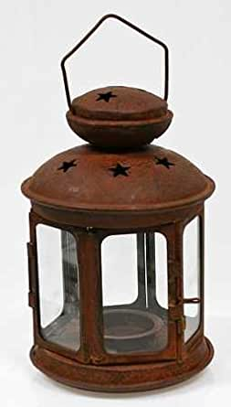 8 Primitive Rusted Metal Star Lantern Candle Holder Home Improvement