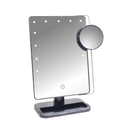 タッチパネルで明るさ調節可能! LED20個 + 10倍拡大鏡付スタンドミラー 【お姫様ミラー KTL800XT】