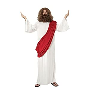 Jesus Fancy Dress Costume Robe, Wig & Beard - One Size