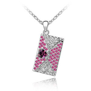 Bella Graciela Jewelry and Accessories, Romantic Fuschia Purple Rhinestone Studded Swarovski Crystal Heart Envelope Charm Necklace , fashion jewelry, fashion necklaces, blue, rhinestones, swarovski crystal
