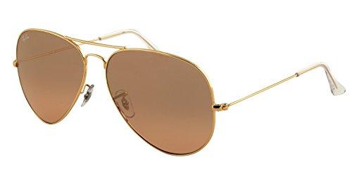 Ray-Ban Men's Aviator Large Metal Aviator Sunglasses, Arista,Crystal Brown & Pink Silver Mirror, 55 mm
