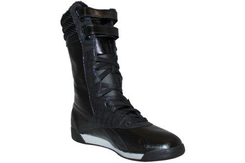 Reebok Freestyle Boot Damen Stiefel Damenstiefel Schwarz-Hellgrau-Silber UK 5.5 D 38 1/2