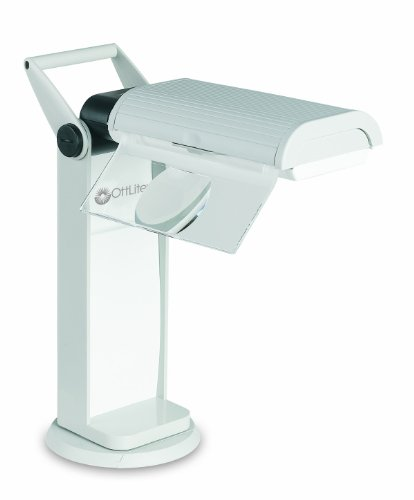 OttLite OTL13MAG Task Lamp with Swivel Base and Flip-Down Magnifier, Dove Grey