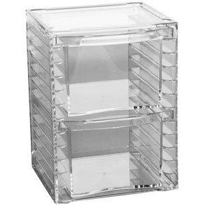 """2-Drawer Acrylic Organizer (Clear) (7.25""""H x 5.25""""W x 4.75""""D)"""