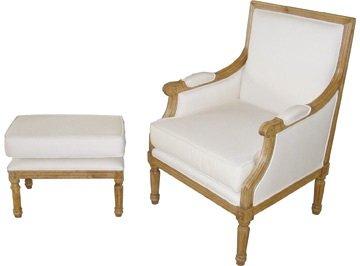 619: Handarbeit - Sessel mit Hocker - massiv Eiche