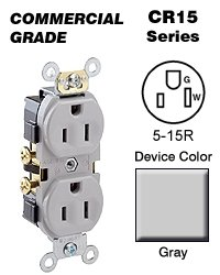 Leviton CR15-GY 15-Amp, 125-Volt, Narrow Body Duplex Receptacle, Straight Blade, Commercial Grade, Self Grounding, Side Wired, Gray