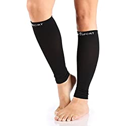 Compression Sleeve - Calf and Shin Splints Support - Best for man and women With Guard leg compression design - Black 1 Pair