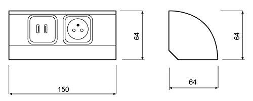 2X0,5A -3 Prises de Courant-250V AC-16A 4000W MAX Multiprise avec 2 USB-5V DC-1A /à la Norme Europ/éenne-Dazone/®-Couleur chrom/é