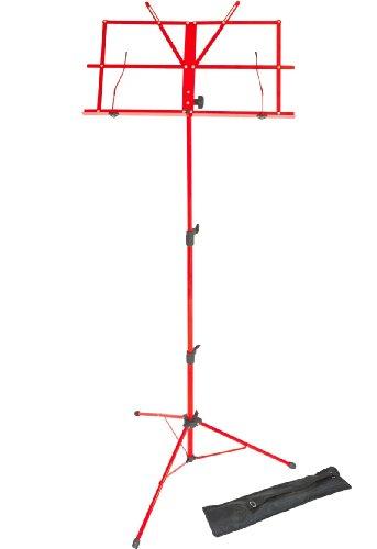 Lawrence LMS02-RD Notenständer (klappbar, verstellbar, Metall, mit Tragetasche) Rot