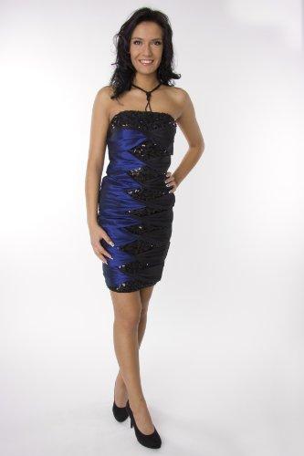 Modell 2068 Abendkleid knielang, Pailetten, blau Größe 42
