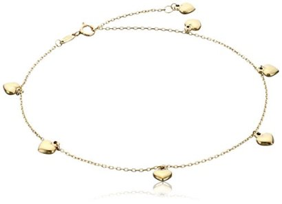14k-Yellow-Gold-Puffy-Heart-Charms-Rolo-Chain-Adjustable-Anklet-9-1-Extender