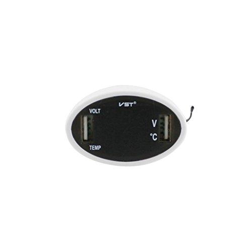 ノーブランド品  3 イン 1 車載用品 カー デジタルLED 電圧計温度計 USB2ポート 車の充電器 携帯電話充電 電圧温度 測定