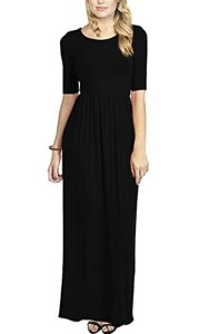 Meaneor-Womens-3-4-Sleeve-Solid-Plus-Maxi-Long-Dress-with-Elastic-Waistband